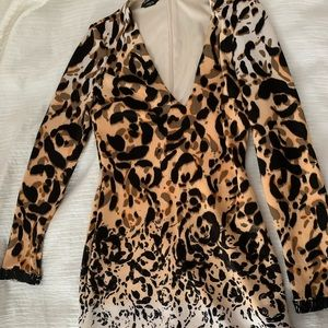 Bebe leopard print long sleeve dress